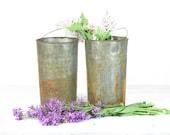 Vintage Sap Bucket, Metal Galvanized Bucket, Metal Flower Pot, Rusty Metal Bucket, Silver Bucket, Tall Bucket with Handle