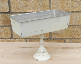 Repurposed Aluminum Bread Pan on a Pedestal - Catch All