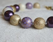 Girls' Eggplant Purple, Gold, and Ivory Chunky Gum Ball Necklace: Photo Prop