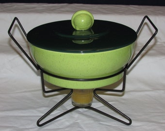 MCM Casserole On Hairpin Stand Atomic Lime & Avocado Skin Green Ceramic Lidded Dish With Tripod Wire Warmer Stand Eames Era Modern Style