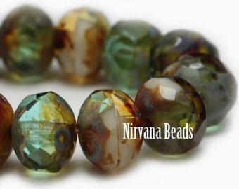 Antique Czech Beads, Green Amber Beads, Strand of 25, Rondelle Beads, Glass Beads, Antique Beads, Czech Beads, Picasso Beads, Aqua Beads