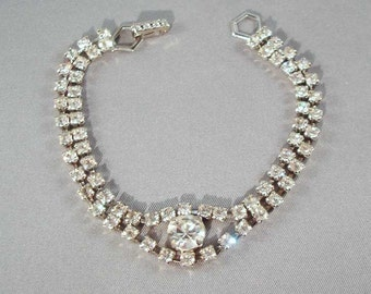 Vintage Silver Plated Crystal Rhinestone Bracelet ~ Mid-Century ~ Prong-Set Rhinestone Bracelet