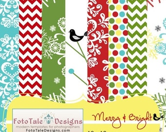 SALE Merry and Bright Digital Paper Pack - 8 high resolution 12x12 digital papers