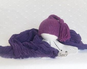 Plum Purple, Newborn Girl Photo Prop set, Newborn Tassel Hat, Newborn Cheesecloth Wrap, Newborn Wrap & Hat Set, Newborn Photography Props