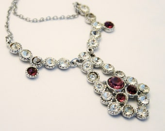 Vintage crystal necklace. Purple crystal necklace. Art Deco style