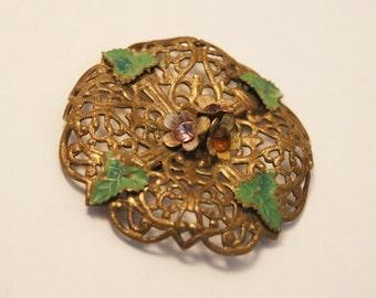 Antique brooch. Filigree brooch.  Enamel leaves.  Vintage brooch