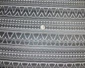 1 yard Black and White Chevron Knit fabric Stretch material stretchy Indian inspired tribal tribe gothic goth boho bohemian tribe bandanna