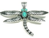 Magnetic Dragonfly Pendant - Clip On - Interchangeable - Turquoise Dragonfly - Removable - DIY Jewelry - Dragonfly Jewelry