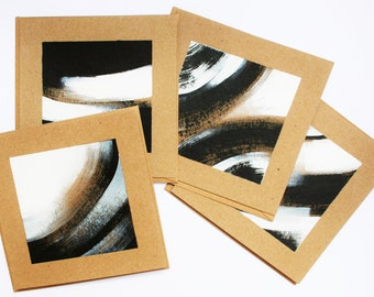 Black and White - 4 original art notecards