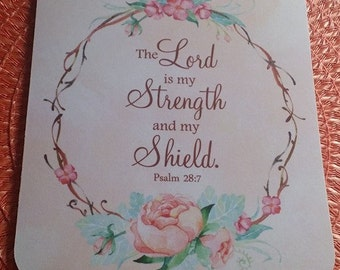 Peonies Mouse Pad, Psalm Mouse Pad, Floral Wreath, Mint and Pink, The Lord is My Strength and My Shield Psalm 28:7, Christian Mouse Pad
