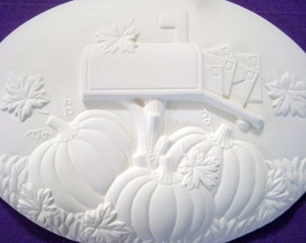 The Autumn Mailbox Wall Plaque Ready to Paint Ceramics ***Price Includes Shipping***