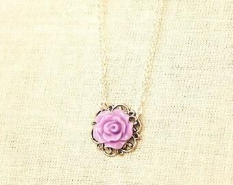 Handmade Purple Rose Necklace Resin Flower Necklace Purple Flower Necklace Purple Rose Pendant Girls Purple Necklace Purple Flower Girl