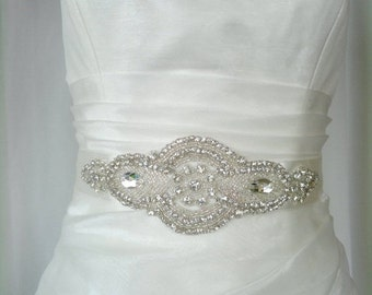 Elegant Rhinestone Royal Beaded Ivory Wedding Dress Sash Belt