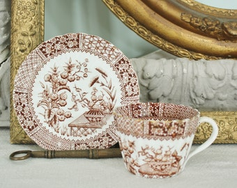 Antique English Staffordshire Brown Transferware Cup and Saucer