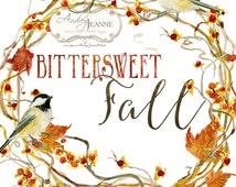 Watercolor Fall Wreath, Digital Clip Art, Autumn Leaves Clipart, Bittersweet Vine, Chickadee Birds, watercolour pumpkins, twigs leaves berry