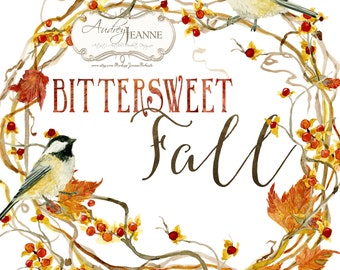 Watercolor Fall Wreath, Digital Clip Art, Autumn Leaves Clipart, Bittersweet Vine, Chickadee Birds, watercolour pumpkins, twigs leaves berry