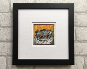 Gift for cat lover - Grumpy grey and white cat Giclée print from an original drawing by stupidcats