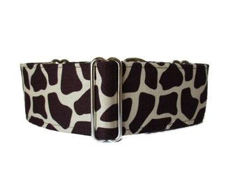 Greyhound Martingale Collar, Giraffe Martingale Collar, 2 Inch Martingale Collar, Giraffe Dog Collar, Brown Dog Collar, Made in Canada