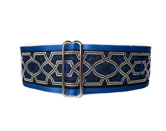 Martingale Dog Collar, Celtic Martingale Collar, Celtic Dog Collar, Blue, Jacquard, Silver, Black, Greyhound Collar, Wide Dog Collar