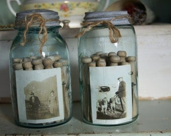 Set of Vintage Blue Quart Jars with Old Photos and Clothespins