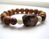 Scarab Bracelet / Scarab & Wood Bracelet / Vintage Scarab Beadwork Bracelet / Narra Wood / Carved Jasper Scarab Bracelet