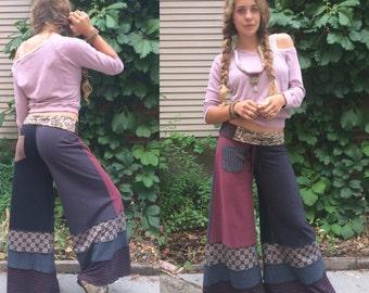 Patchwork  PANTS, Size M, eco clothing, upcycled pants, yoga pants, wide leg pants, jersey pants, hippy, earthy mix, gray pants,  Zasra