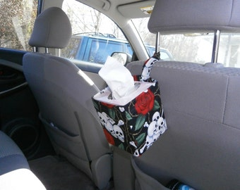 Car Tissue Caddies by Kaaachews- Skulls and Roses