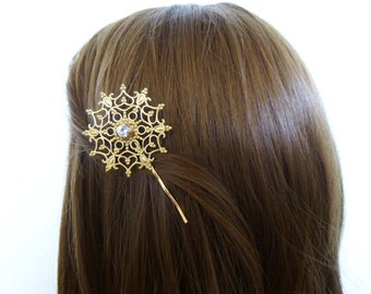 Snowflake Bobby Pin Bridal Hair Clip Bride Bridesmaid Vintage Inspired Style Gold Winter Wedding Accessories Girlfriend Womens Gift For Her