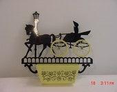 Vintage Plastic Horse & Carriage Planter Or Holder  16 - 196