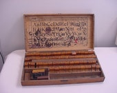 Vintage Ink Printing Letters Set In Dove Tailed Wood Box  15 - 82