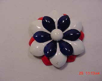 Vintage Red White And Blue  Metal Flower Brooch  16 - 367