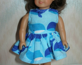 Dress for 6 1/2 inch dolls --  blue whates print