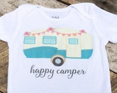 NEW Happy Camper Onesies®, Baby Girl Onesie, Camper Onesie, Graphic Onesie, Shabby Chic Baby, Trendy Baby, Cute Baby Clothes, Baby Outfit