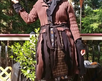 Sale, Recycled Sweate Coat, Upcycled Sweater, Medium Large to Large, Brown, Stevie Nicks Style, Boho, Hippie, Gypsy Style, Seperate Hood