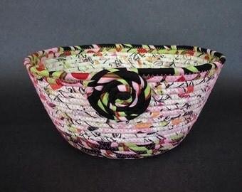 Coiled Fabric Basket, Confetti Surprise, clothesline basket
