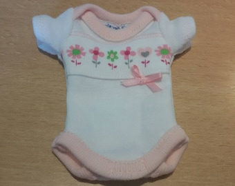 white/pink onesie for approx. 6-7 inch ooak or reborn baby