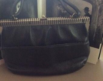 Vintage 1960s Handbag Purse Black Pebbled Genuine Leather Paisley Fabric Interior Saber Label