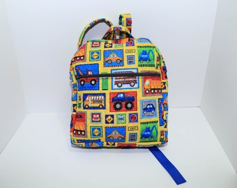 Boy's Quilted Backpack in primary color trucks