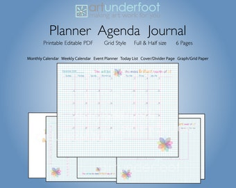 Editable PDF Planner Agenda Journal for a Brilliant Year.