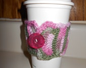 Crocheted Pink Camo Coffee Sleeve