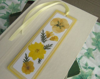Yellow Pressed Flowers Collage Style Laminated Bookmark