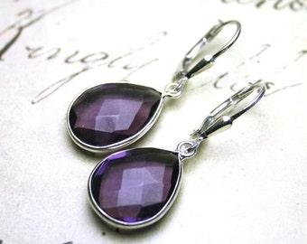 ON SALE Faceted Amethyst Teardrop Earrings - Genuine Purple Amethyst Earrings with Sterling Silver Leverbacks