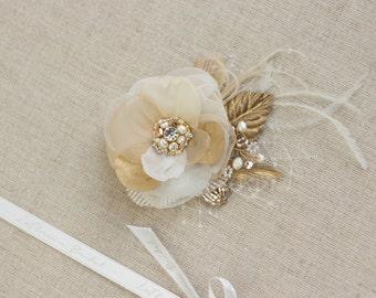 Wedding Hair flower Wedding hair piece Bridal hair piece Gold Rose Gold Champagne Hair Flowers Hair accessories wedding hair flowers
