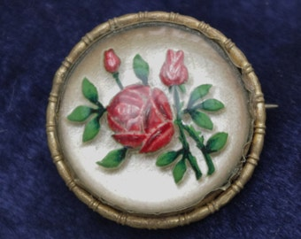 Vintage - RARE DESIGN -  Red Rose for your Loved One - Reverse carved Lucite - Brooch Pin - c1950s