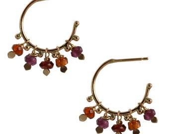 Tundra Sapphire Soiree Hoop Earrings in Recycled 14k Gold - Hoops, Dangles, Sapphire Beads