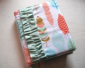 Reserved Custom Listing for Kimie - Ruffled Bible Cover - Feathers and Mint