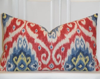 IKAT - 15 x 25 - Decorative Pillow Cover - Red - Blue - Yellow - Navy - Iman Home Ubud - Accent Pillow