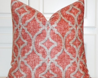 Decorative Pillow Cover - Velvet in Red/Rust Tan Brown - Trellis Pillow - Lattice - Geometric - Throw Pillow