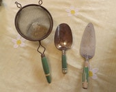 Vintage Farm House Green Handled Kitchen Tools (3 pieces) Strainer, Measuring Scoop, And Pie Server