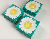 3 little white daisies, set of 4x4 inch acrylic paintings for home or office